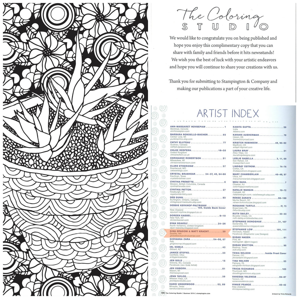 "Succulent Serenity artwork featured in Stampington's ""The Coloring Studio"""