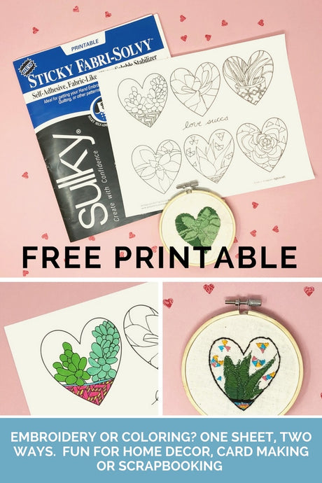 FREE Succulent Hearts Printable for National Embroidery Month