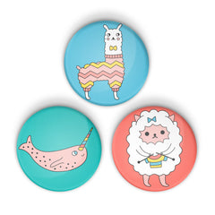 colorful characters pinback button trio