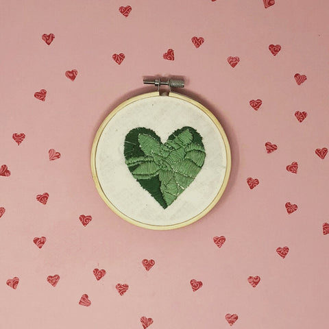 close up of one succulent heart embroidery