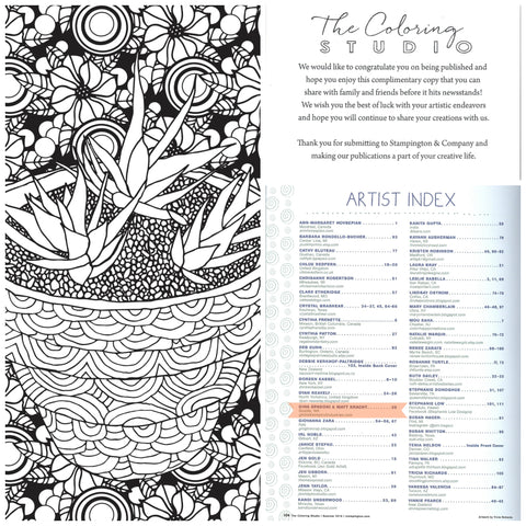 The Coloring Journal Succulent Serenity illustration page feature Stampington