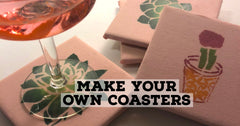 decoupaged tiled coasters