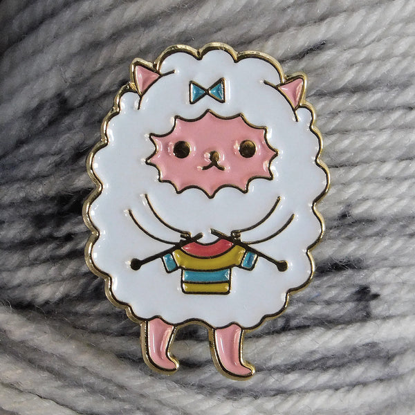 Undercover Kitty enamel pin (cat dressed up as a sheep)