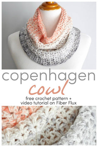 Copenhagen Cowl crochet pattern from Fiber Flux using our Deep Coral and Gray Hand Dyed Yarn