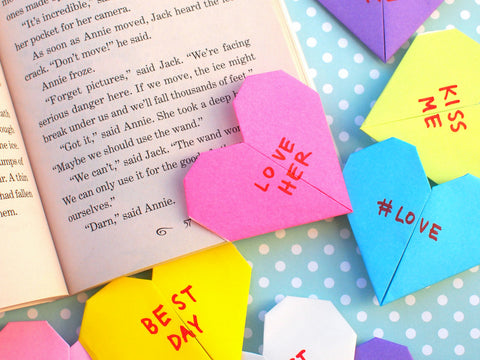 origami bookmark heart shaped DIY Candy