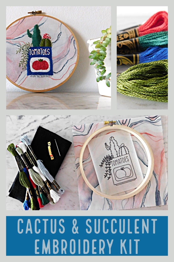 succulent and cactus embroidery kit from global backyard