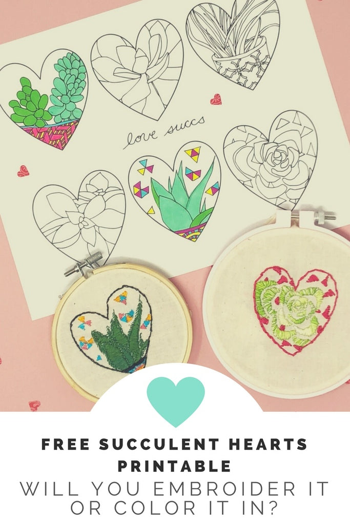 free printable of succulent hearts to embroider or color