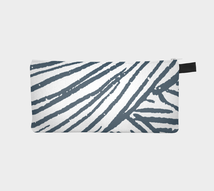 Small Zippered Pouch with Indigo & White Yarn Pattern / Pencil Case