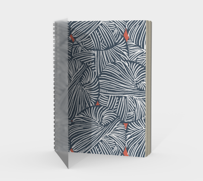 Spiral Notebook Featuring Indigo Yarn - plain, graph, or bullet dot grid paper