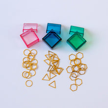 Load image into Gallery viewer, Set of 15 Gold Triangle Stitch Markers in Majestic Blue Storage Box