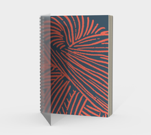 Load image into Gallery viewer, Spiral Notebook - Coral Yarn on Indigo - plain, graph, or bullet dot grid paper