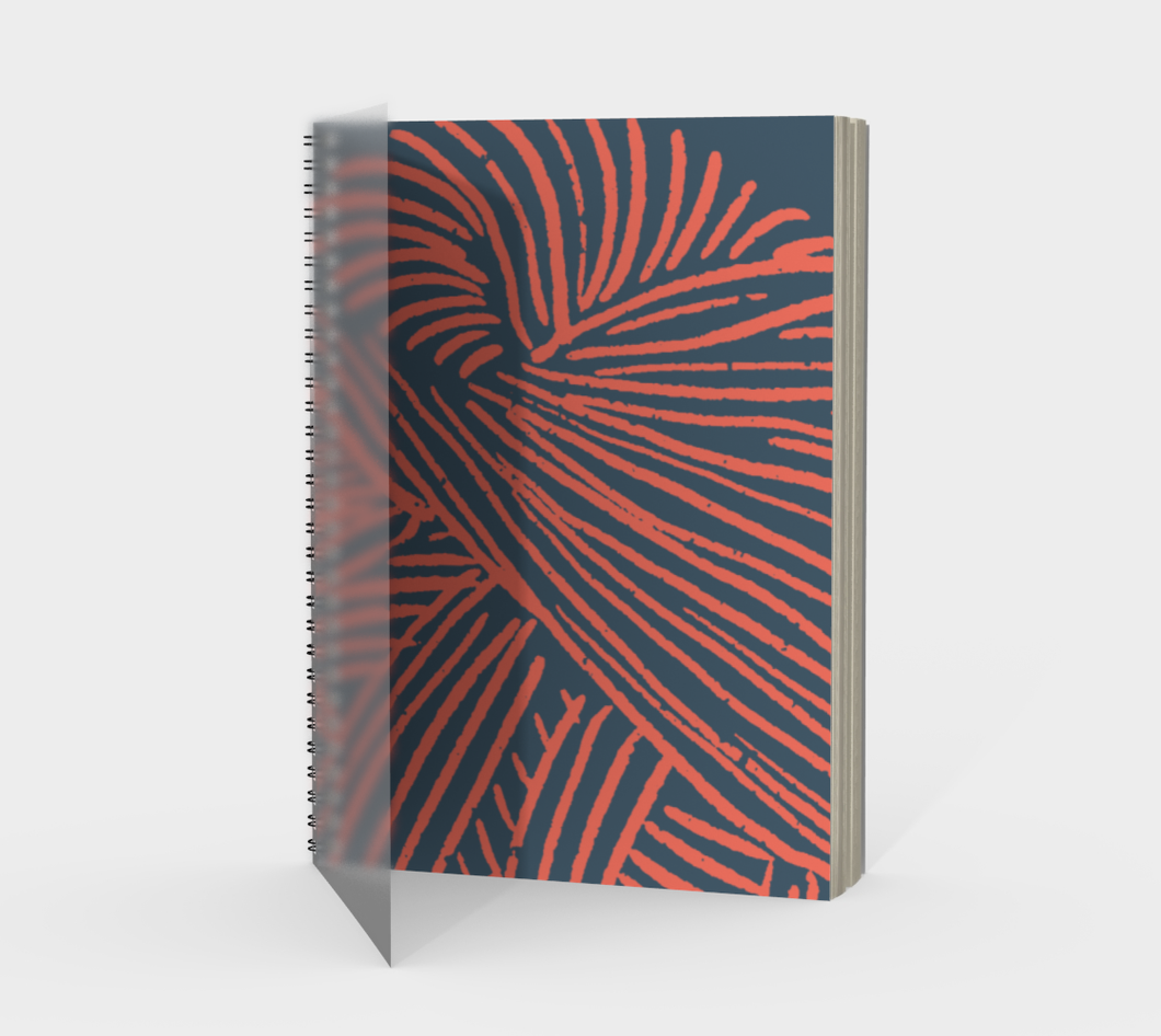 Spiral Notebook - Coral Yarn on Indigo - plain / graph / bullet journal