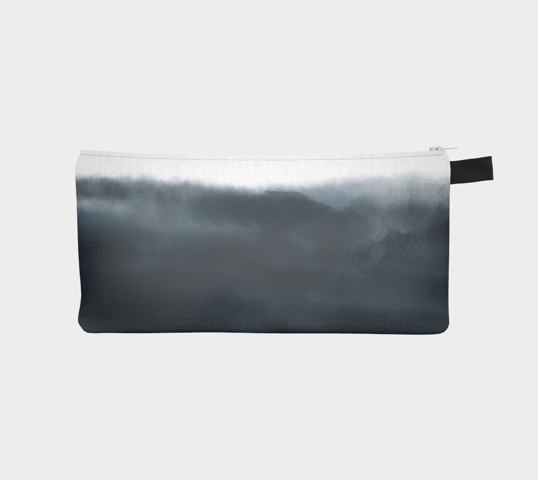 Small Zippered Pouch with Indigo Clouds Pattern / Pencil Case