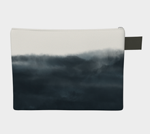 Load image into Gallery viewer, Medium Zipper Pouch -- Wristlet with Indigo Cloud Print