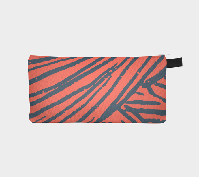 Small Zippered Pouch with Indigo & Coral Yarn Pattern / Pencil Case