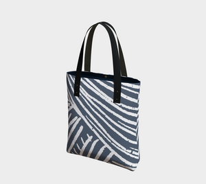 Deluxe Tote Bag with Indigo Yarn Pattern -- Lined with Pockets