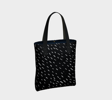 Load image into Gallery viewer, rainy day tote bag with vertical orientation and interior pockets -- including a zipper pocket
