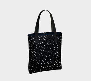 Deluxe Tote Bag with White Rain on Black Skies -- Lined with Pockets