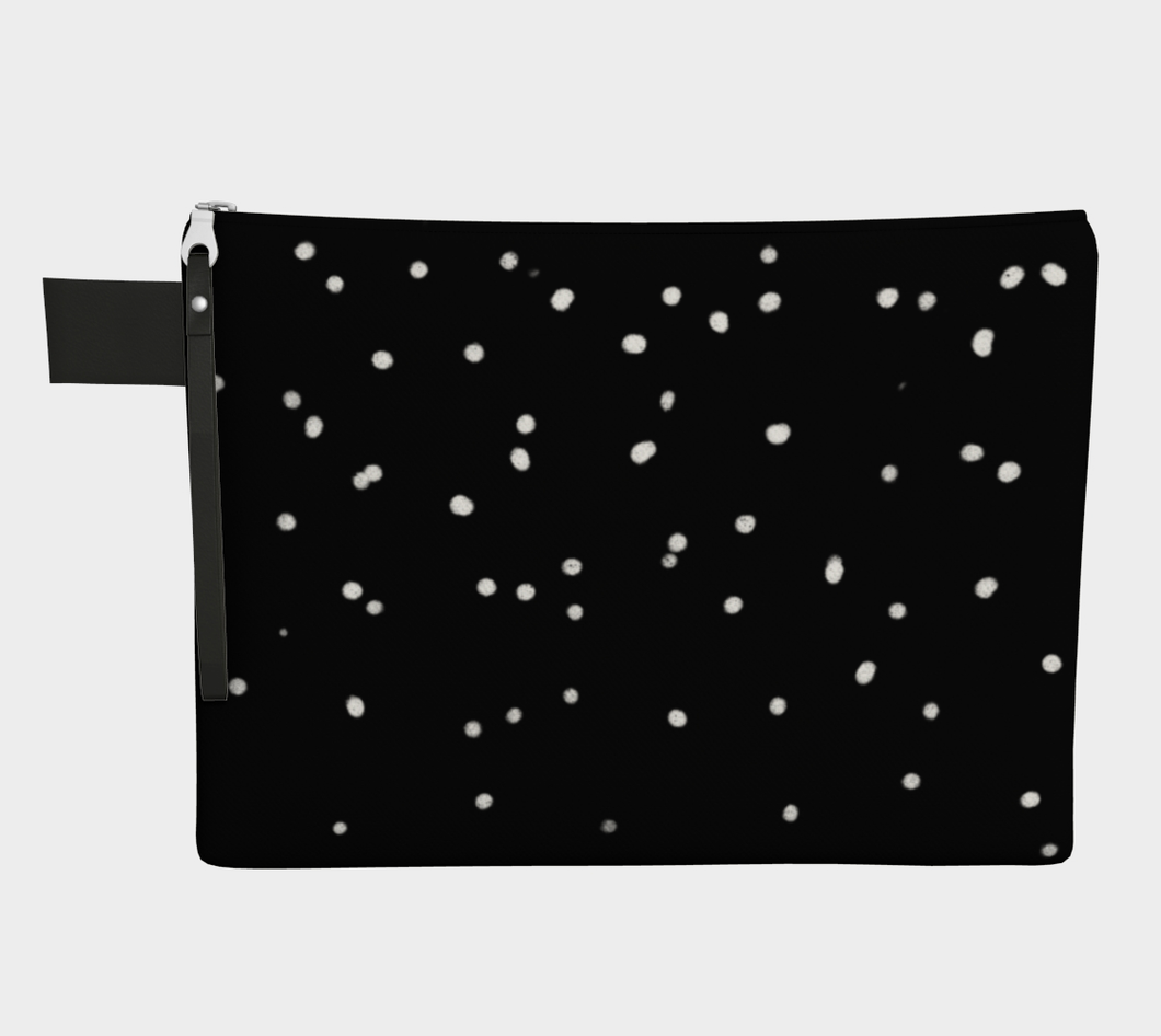 Medium Zipper Pouch -- Wristlet with White Snow on Black