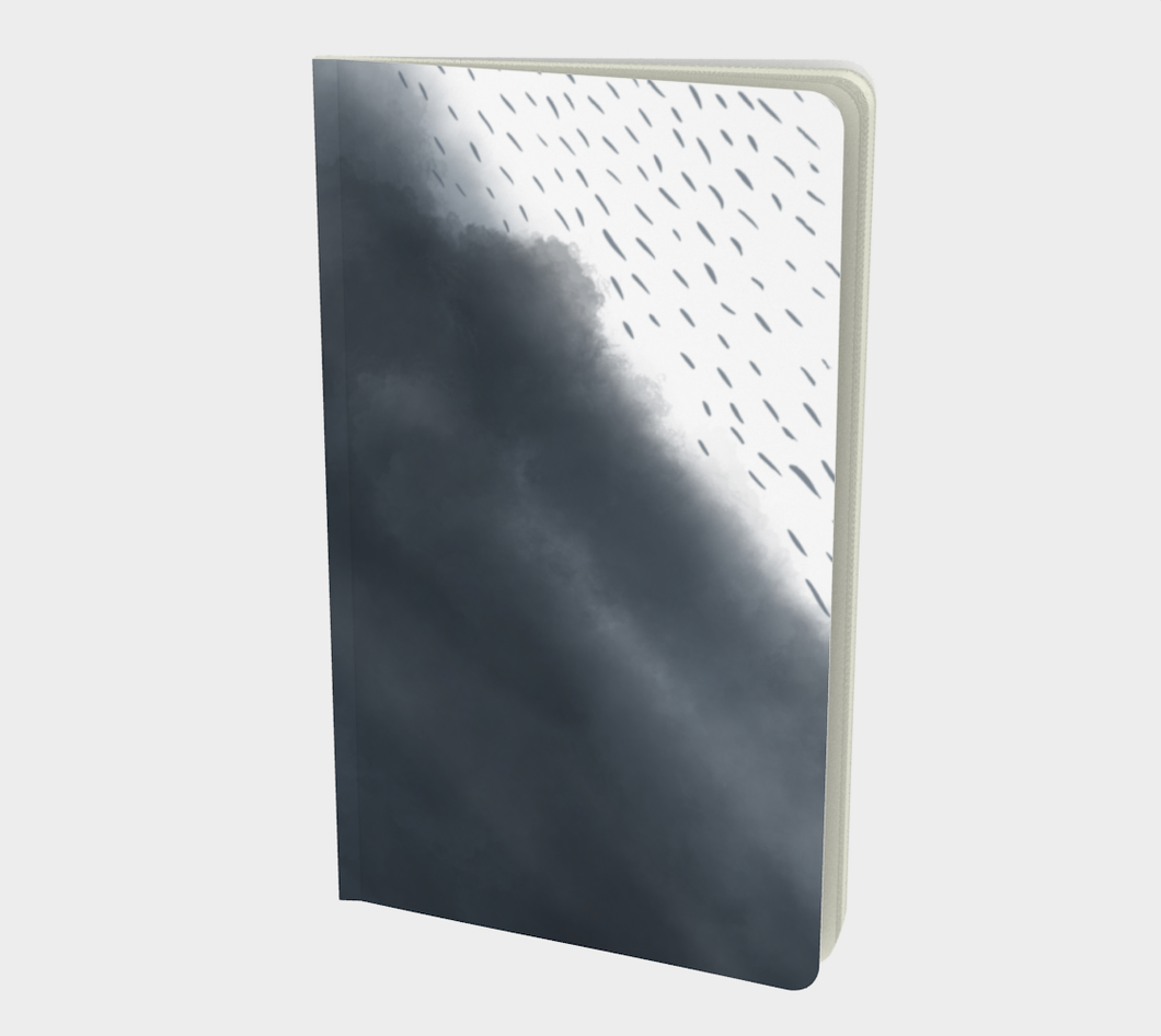 Notebook with Rain on Indigo Clouds - plain, graph, or bullet journal