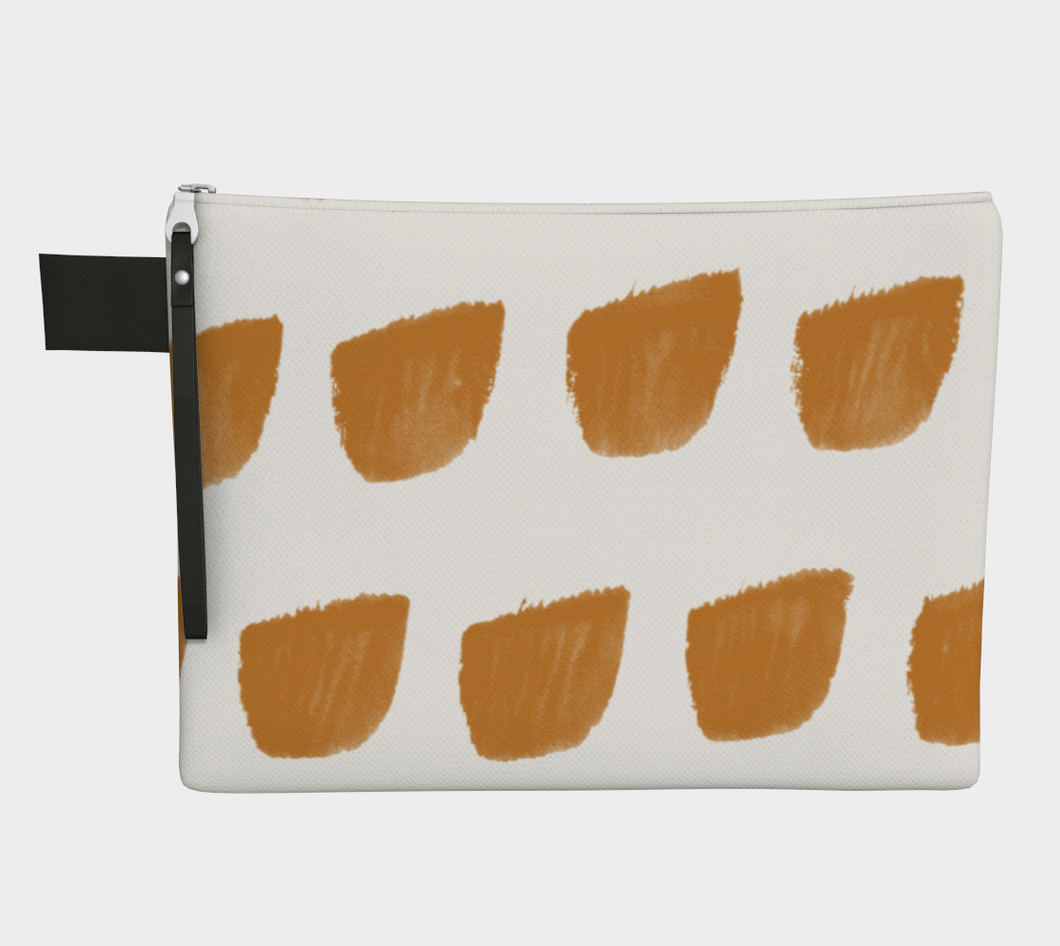 Medium Zipper Pouch -- Wristlet with Cheddar Print