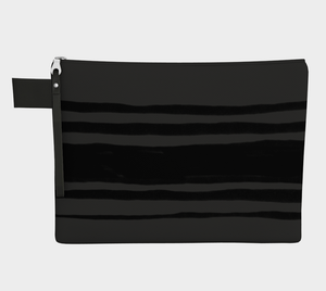 Medium Zipper Pouch -- Wristlet with Black and Gray Stripes
