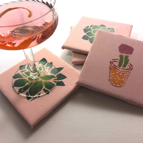 Coaster Project Made with Cactus and Succulent Stencil Designs