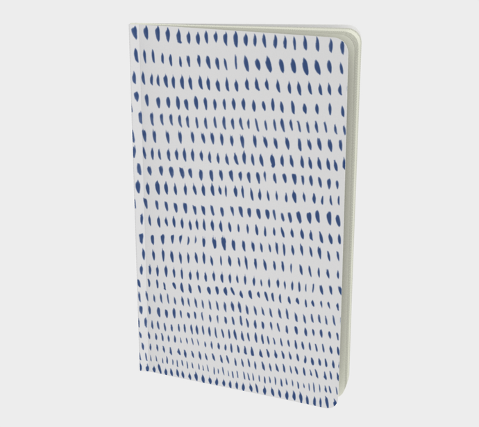 Notebook with Blue Marks on Light Gray - plain, graph, or bullet dot grid paper