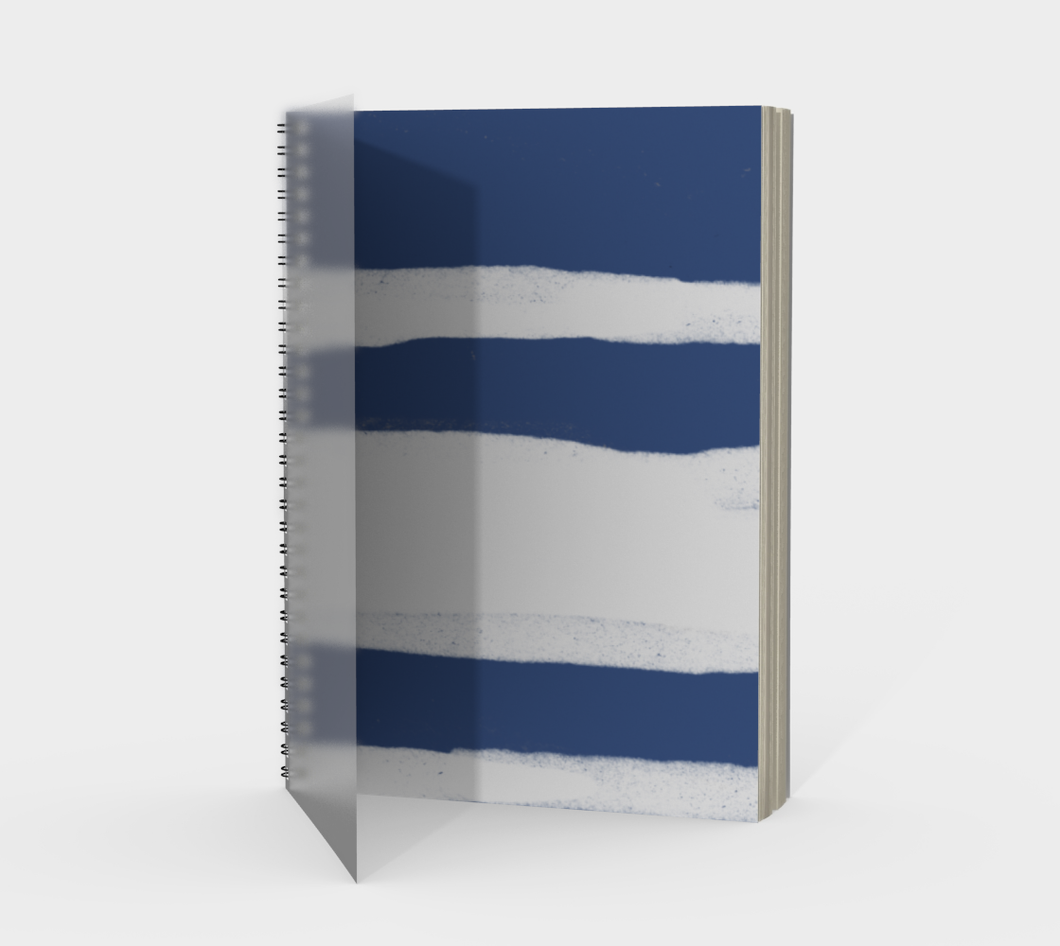 Spiral Notebook with Organic Blue and White Stripes - plain, graph, or bullet dot grid paper
