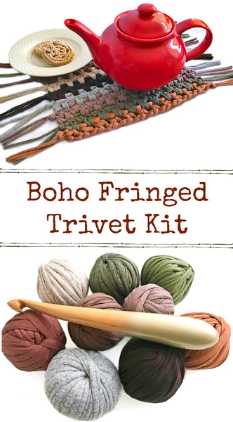 T-Shirt Yarn BOHO Trivet Crochet Kit with Hook