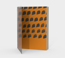 Load image into Gallery viewer, Spiral Notebook with Cheddar and Gray Print - plain, graph, or bullet dot grid paper