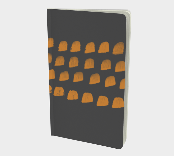 Notebook with Cheddar and Charcoal Gray Print - plain, graph, or bullet dot grid paper