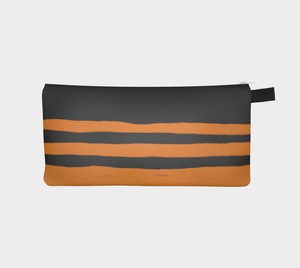 Small Zippered Pouch with Cheddar & Gray Striped Pattern