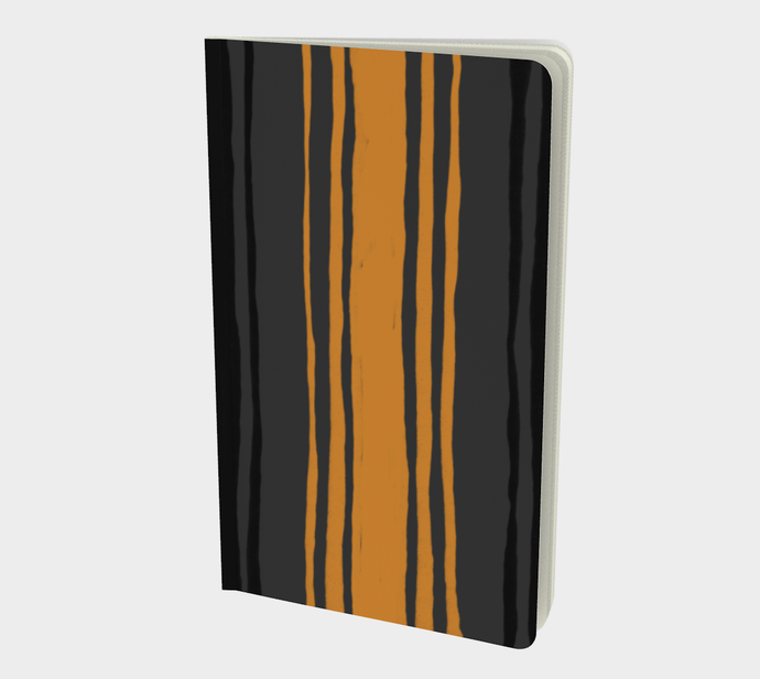 Notebook with Cheddar on Charcoal Stripes Print - plain, graph, or bullet dot grid paper
