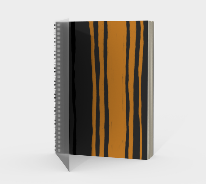 Spiral Notebook with Cheddar and Gray Stripes - plain, graph, or bullet dot grid paper
