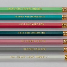 Load image into Gallery viewer, Set of seven pencils with seven different sayings about yarn, knitting and crochet