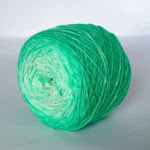 Lime 'n Coconut Sock Yarn in Green and White -- Hand Dyed Extrafine Merino Wool Blend