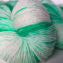 Load image into Gallery viewer, Lime 'n Coconut Sock Yarn in Green and White -- Hand Dyed Extrafine Merino Wool Blend