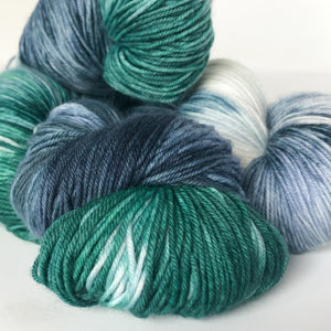 Pacific Coast Sock Yarn in Deep Blue and Forest Green -- Hand Dyed Extrafine Merino Wool Blend