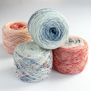 Indigo and Coral hand dyed yarn collection from Global Backyard
