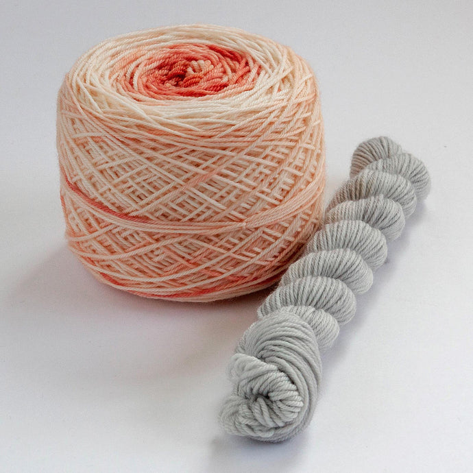 Sock Set with Coral Cake and Gray Mini -- Superwash Merino / Nylon