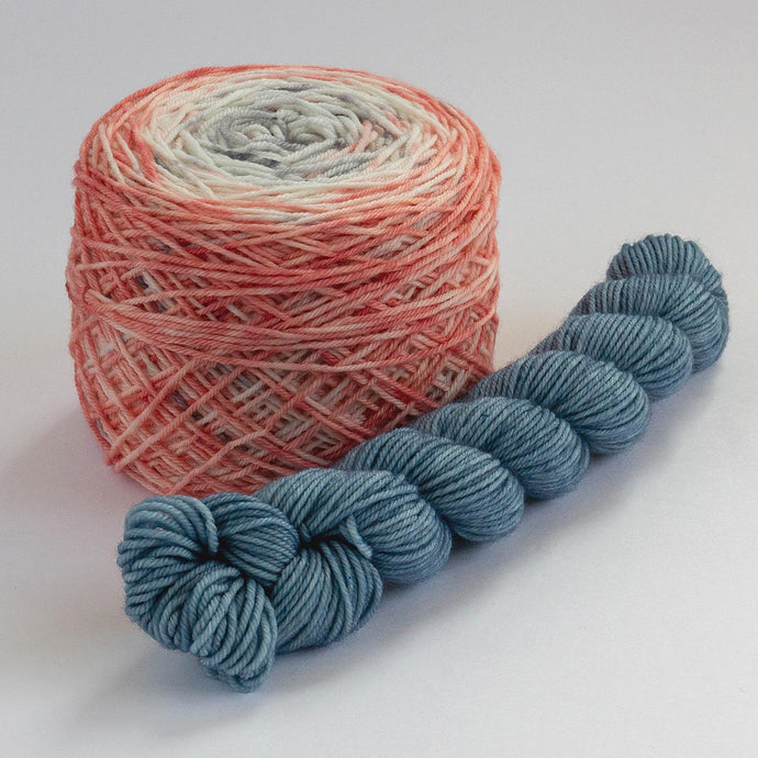 Sock Set with Deep Coral Cake and Indigo Mini -- Superwash Merino / Nylon