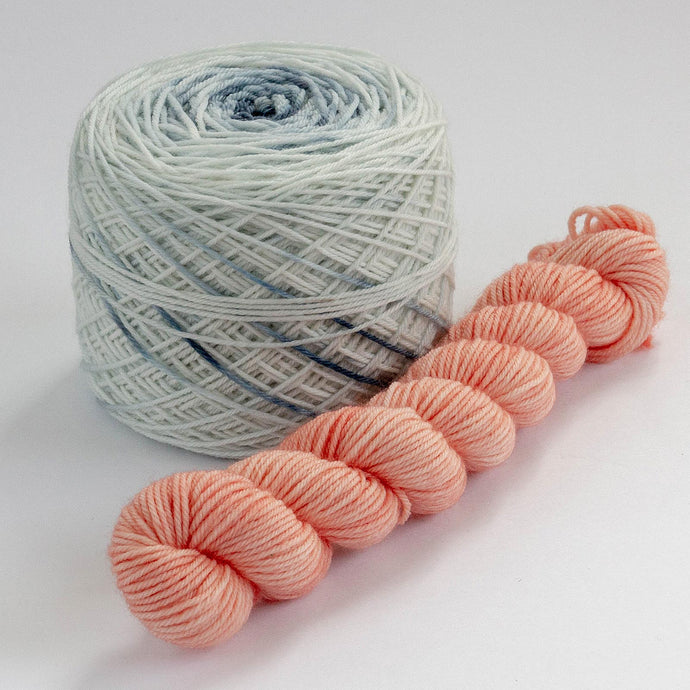 Sock Set with Indigo Cake and Coral Mini -- Superwash Merino / Nylon