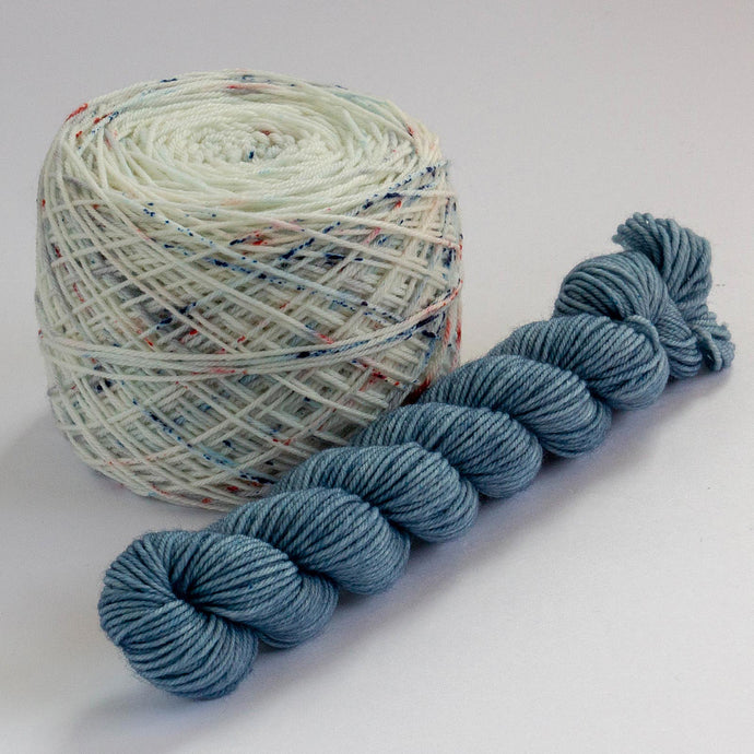 Sock Set with Speckled Cake and Indigo Mini -- Superwash Merino / Nylon