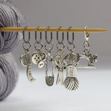 Load image into Gallery viewer, Five Stitch Markers + Bonus Progress Keeper -- Knitting/Sewing Theme