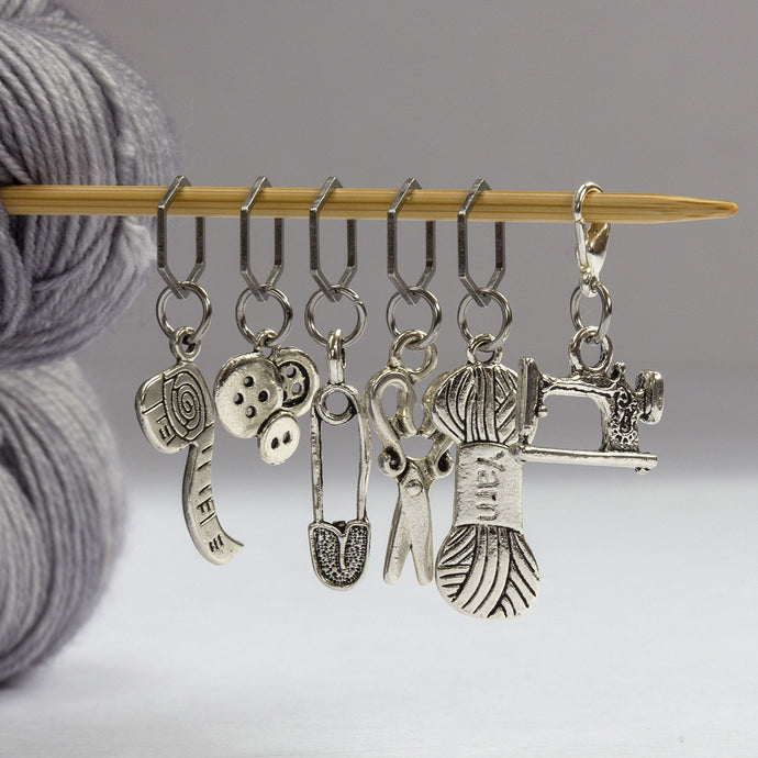 Five Stitch Markers + Bonus Progress Keeper -- Knitting/Sewing Theme