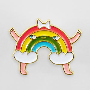 cute rainbow pin for backpacks and project bags