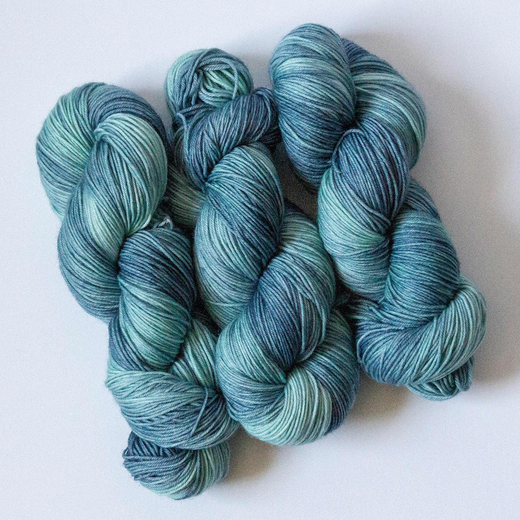 Surfs Up Blue Green Fingering Weight Sock Yarn in Extrafine Merino Wool Nylon Blend
