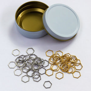 Stainless Steel Hexagon Stitch Markers in Gold and Silver