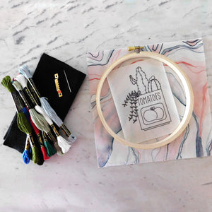 Embroidery Kit comes with everything you need, including a printed pattern, backer fabric and felt, a hanging hook, needle and floss -- and a hoop
